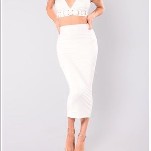 Ivory off white cotton midi pencil skirt size M
